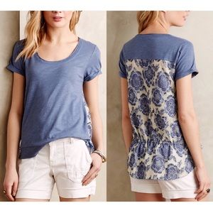 Anthropologie Contrast Cinched Tee by LYB Sz Small